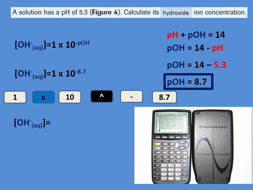 pH + pOH = 14 [OH-(aq)]= 1 x 10-pOH pOH = 14 - pH pOH = 14 – 5.3
